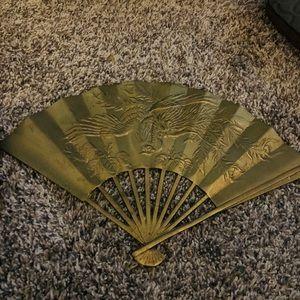 Vintage Solid Brass large Asian Fan